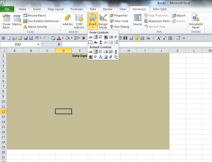 Insert Combobox Excel