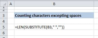 counting characers without spaces