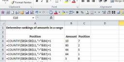 Determine top rankings of amounts
