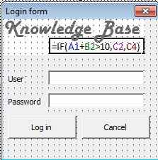 Login form in excel