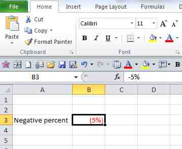 negative percent in red color