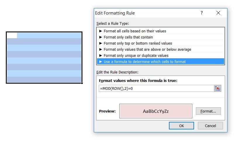 couleurs-ligne-alternate-conditionnelle à l'aide de formatage