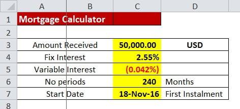 抵押贷款分期付款利息的模拟器计算器