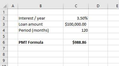 PMT excel formula loan payment equal instalments